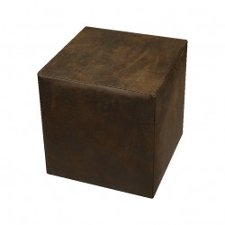 POUF CUBO STYLE VINTAGE CUOIO
