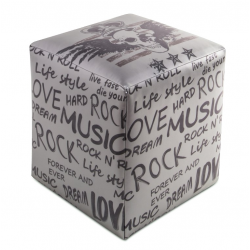 POUF CUBO ECOPELLE ROCK MUSIC
